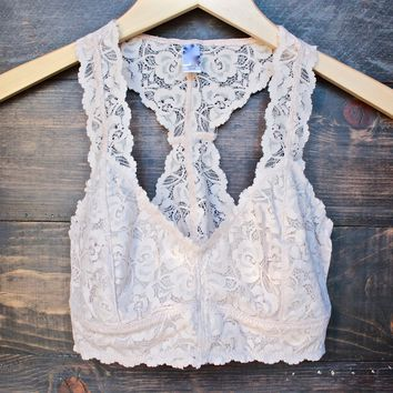 racer back all over lace scalloped bralette in nude