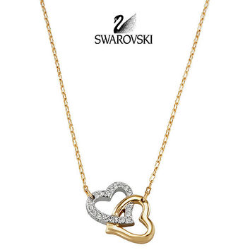 Swarovski Clear Crystal MATCH Pendant LOVE HEARTS Gold Necklace #1062708