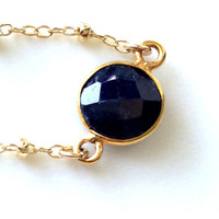 Sapphire Necklace, Sapphire Gold Necklace, Perfect for Layering, Satellite Chain in Gold Filled