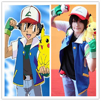 Pokemon Ash Ketchum Trainer Costume Shirt Jacket +gloves+hat