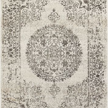 2932 Ivory Medallion Distressed Traditional Area Rugs