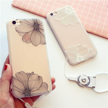 Exquisite fashion embossed flower transparent soft silicone mobile phone case for iphone 6 6s 6plus 6s plus + Nice gift box!