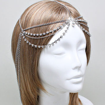 Bohemian Silver Clear Crystal Head Chain Headpiece, Grecian headchain, House Of Harlow Style Gypsy head jewelry, Wedding Headchain