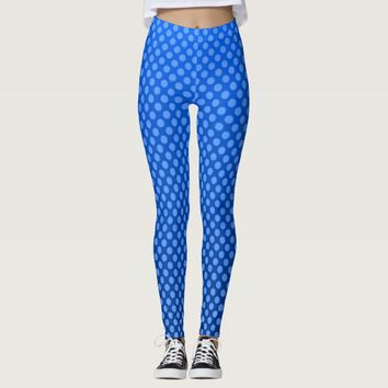 Blue spotted design leggings