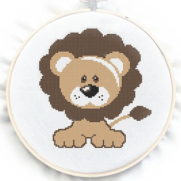 Baby Lion Cross Stitch Chart Pattern, PDF instant download, No.70, Instructions