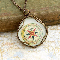 Compass Rose Necklace red green and yellow by ElainaLouiseStudios