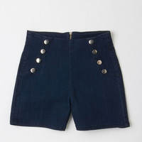 ModCloth Nautical High Waist Sailorette the Seas Shorts in Dark Wash