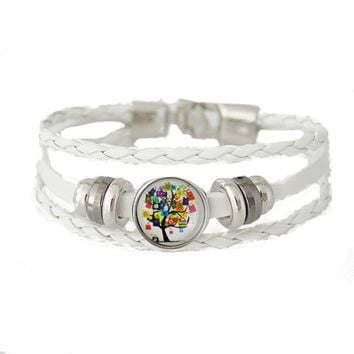 Leather Snap Chunk Charm Bracelet Braided White includes Snap Shown