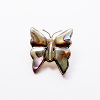 Vintage Butterfly Pin Abalone Mexican Silver Gift for Her Birthday Christmas Brooch Jewelry Jewellry