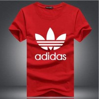 """Adidas"" Unisex Simple Casual Classic Clover Letter Print Round Neck Short Sleeve Cotton T-shirt"