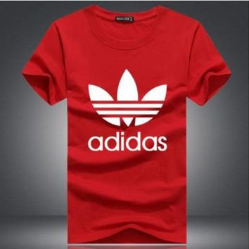 """""""Adidas"""" Unisex Simple Casual Classic Clover Letter Print Round Neck Short Sleeve Cotton T-shirt"""