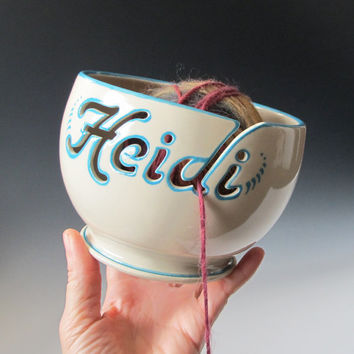 Yarn Bowl Personalized with a name - Handmade to Order