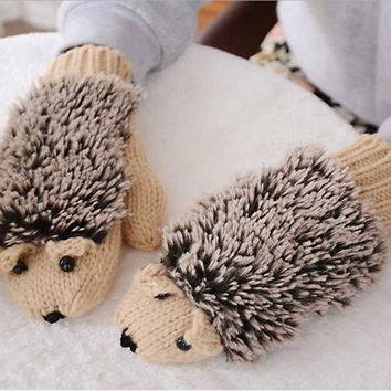 Refers to all the cartoon hedgehog gloves Han edition lovely winter winter gloves female girl knitted gloves = 1958146116
