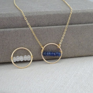 Genuine Sapphire Necklace,  September, Birthstone Karma Necklace - 14Kgold fill, Bridesmaids necklce - Layered neckalce, sapphire necklace