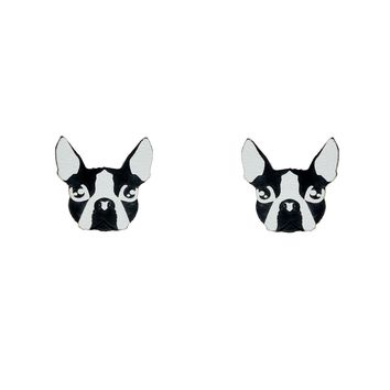 Boston Terrier Earrings in Black/White