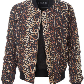 LE3NO Womens Lightweight Leopard Bomber Jacket