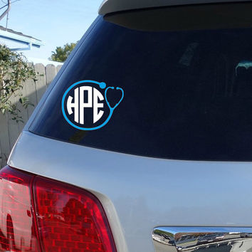 Nursing Monogram Car Window Decal | Initials Car Window Decal Stethoscope Heart Monogram
