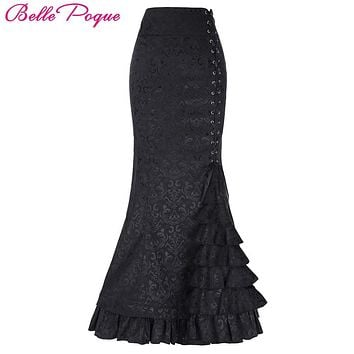 Sexy Jacquard Fishtail Long Skirts Women Victorian Vintage Pencil Mermaid Skirt Corset Lace-Up Floor Length Slim OL Maxi Skirts