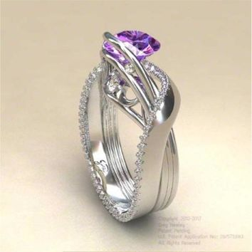 Austin-1 Purple Diamond Engagement Ring