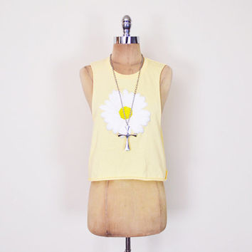 Yellow White Puffy 3D Daisy Top Daisy Shirt Daisy Print T-Shirt Tshirt Tank Top Crop T-Shirt Crop Top 90s Grunge Club Kid S Small M Medium