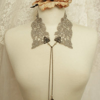 lace collar necklace - peter pan collar necklace - lariat necklace - grey gray