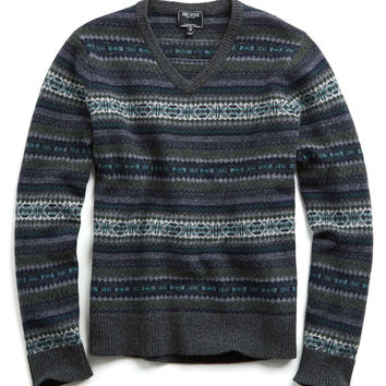 Wool Fairisle Vneck Sweater in Grey