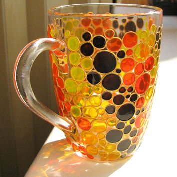 Hand painted Coffee Mug African style Bubbles, Painted glass mug