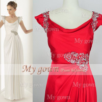 Straps Beading Red Floor Length Prom Gown, Dresses, Wedding Dress,Evening Dress,Prom Dress