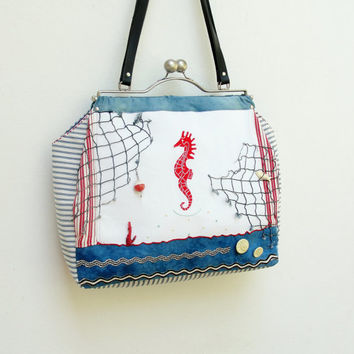 Sea Love Bag - Vintage Nautical Seahorse Treasures, Kiss-lock, Leather, Beach finds