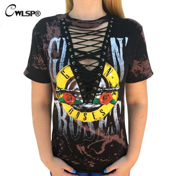 CWLSP GUN N ROSES Print T Shirt Women 2017 Rock Music Festival Hollow Out Tied up V Neck Tees Tops lace up kawaii t-shirt