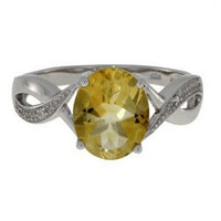 2.51ct. Citrine vs. Diamond Ring In Sterling Silver Size 7