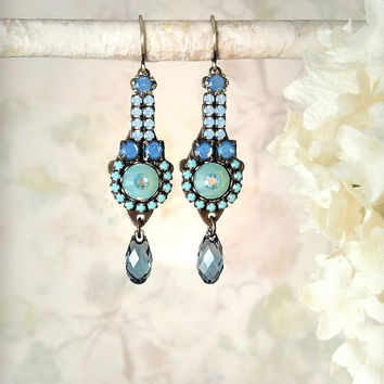 Wanderlust Micro Mosaic Beaded Dangle Earrings, Denim Blue Aqua Turquoise Boho Earrings, Romantic Wedding Jewelry, Blue Rhinestone Earrings