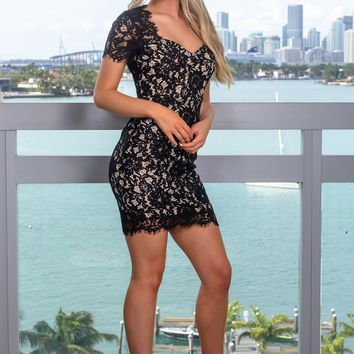 Black and Nude Crochet Short Dress