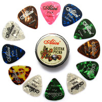 SEWS Alice Tin Celluloid Guitar Picks 12 colorful plectrum in one cute round metal box acoustic electric guitar strum picks