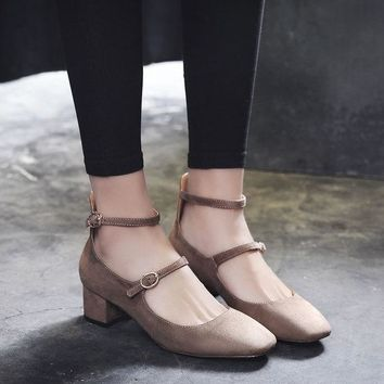 PEAPON5L Summer Vintage Suede Square Toe With Heel Shoes [10161907591]