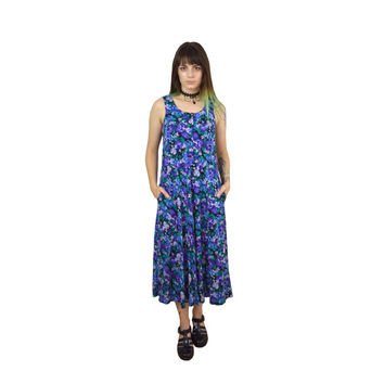 90s Floral Dress Small Soft Grunge Hippie Sleeveless Tank Long Vintage Womens Clothing 1990s Black Violet Blue Tea Length Dress