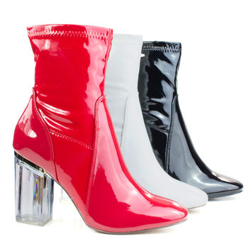 Cameron3 by X2B, Sleek Ankle Bootie Latex Patent Perspex Glass Block Heel w Pointed Toe