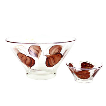 Hand Painted Vintage Chip & Dip Bowls, 'Enchant Ware', Brown