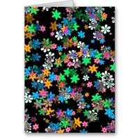 Saffron, Pink, Blue, Green, White Flowers On Black Greeting Cards from Zazzle.com