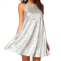 WIIPU womens o-neck Sleeveless Loose Sequin Dress Cocktail Party dress (J2-218)- Xlarge silver