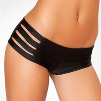 Black Strappy Hot Pants : Stretch Lycra Boy Shorts from J. Valentine