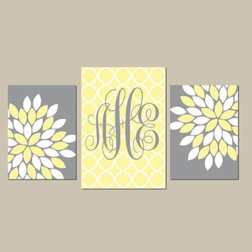 Monogram Wall Art Baby Girl Nursery CANVAS or Prints Wall Art Girl Bedroom Pictures Nursery Yellow Gray Artwork Set of 3 Above Crib Decor