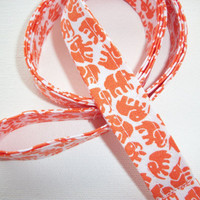 Fabric Lanyard / ID Holder with key ring - Orange Elephants