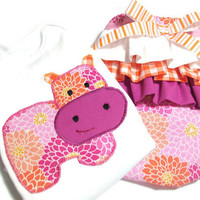 Newborn Baby Girl Clothes  - Hippo Appliqued Bodysuit - Tripple Ruffled Diaper Cover Set