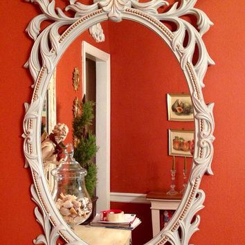 Vintage 1960's Wall Mirror Dove Grey Gold Accents Elegant