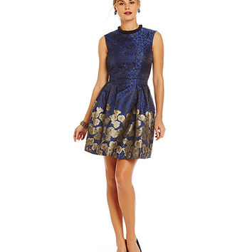 Belle Badgley Mischka Iman Animal-Print Pleated A-Line Dress | Dillards