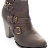 Forever Buckle Up Distressed Faux Suede Booties - Brown