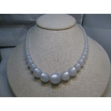 "Vintage Moonglow Beaded Necklace, 17"", 1940's, Gray/Blue, 6mm to 14mm"