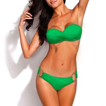 Metal Ring Push Up Bandeau Solid Colors Swimsuit