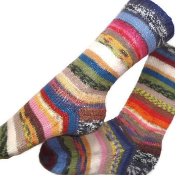 Scrappy socks, hand knit OOAK wool socks, Christmas socks for women,  art socks, gift for friend, gift for daughter, striped socks,